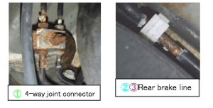 These photos of the affected Subaru brake lines appeared in Fuji's recall letter.